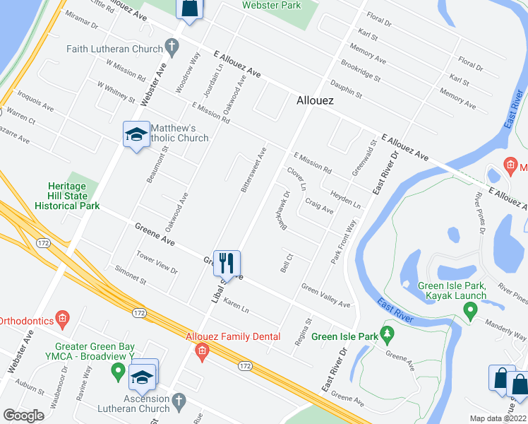 map of restaurants, bars, coffee shops, grocery stores, and more near 2555 Libal Street in Green Bay