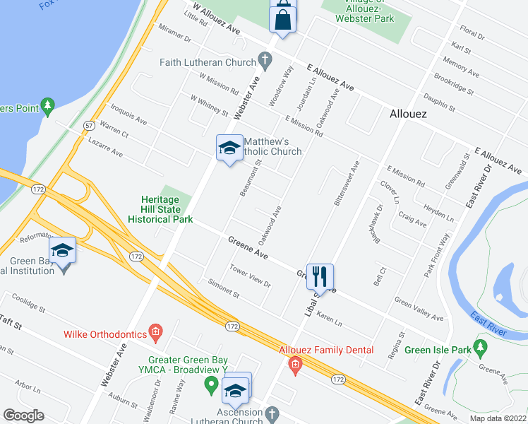 map of restaurants, bars, coffee shops, grocery stores, and more near Sioux Lane in Green Bay