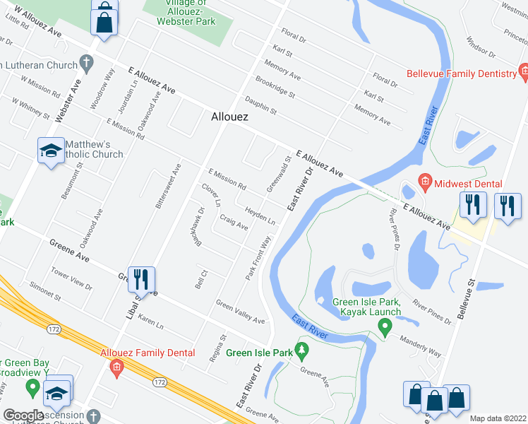 map of restaurants, bars, coffee shops, grocery stores, and more near 2411 Greenwald Street in Green Bay
