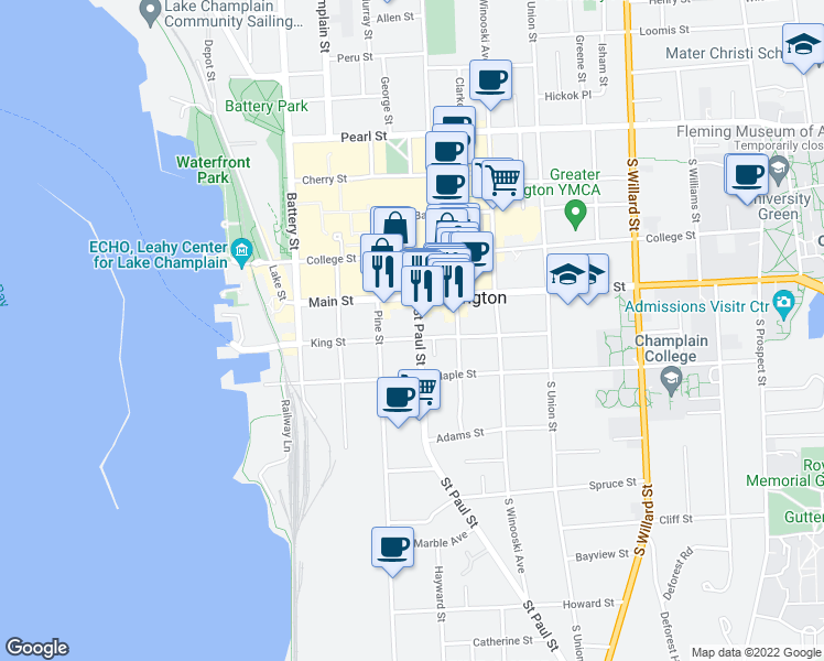 map of restaurants, bars, coffee shops, grocery stores, and more near 161 Saint Paul Street in Burlington