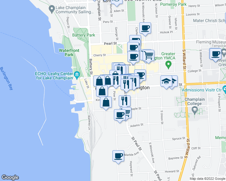 map of restaurants, bars, coffee shops, grocery stores, and more near 86 King Street in Burlington