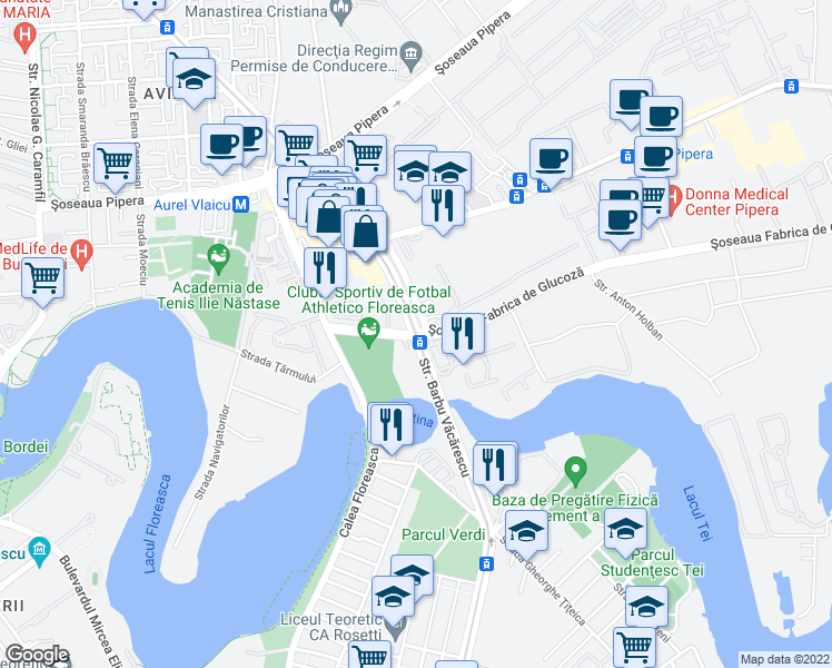 map of restaurants, bars, coffee shops, grocery stores, and more near in Bucharest