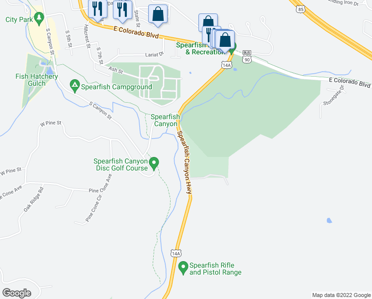 map of restaurants, bars, coffee shops, grocery stores, and more near 503 Spearfish Canyon Highway in Spearfish