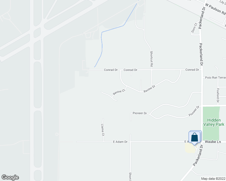 map of restaurants, bars, coffee shops, grocery stores, and more near 2418 Ravine Court in Green Bay