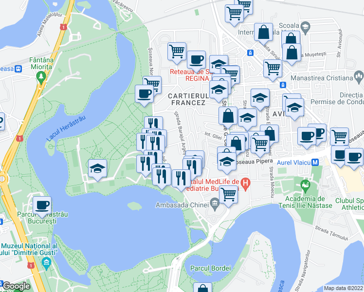 map of restaurants, bars, coffee shops, grocery stores, and more near 39 Intrarea Murmurului in București