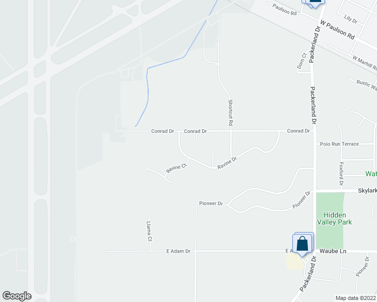 map of restaurants, bars, coffee shops, grocery stores, and more near 1500 Ravine Drive in Green Bay