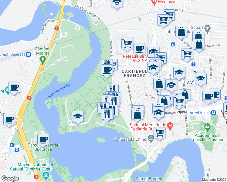 map of restaurants, bars, coffee shops, grocery stores, and more near 41 Strada Barajul Argeș in București