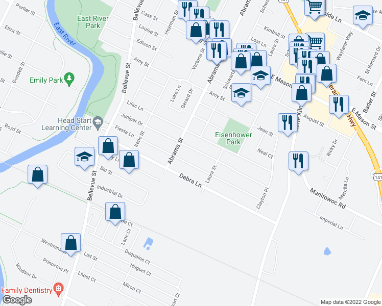 map of restaurants, bars, coffee shops, grocery stores, and more near 1724 Juniper Drive in Green Bay