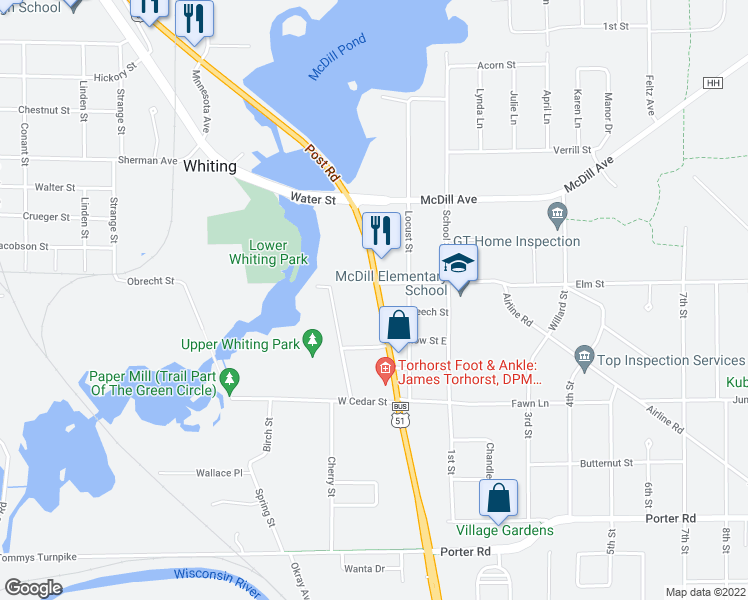 map of restaurants, bars, coffee shops, grocery stores, and more near 2511 Post Road in Stevens Point