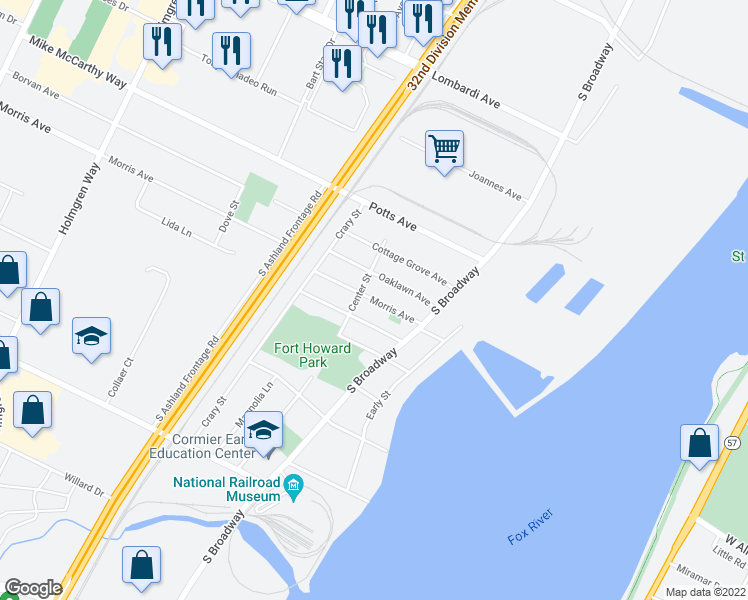map of restaurants, bars, coffee shops, grocery stores, and more near Morris Avenue in Green Bay