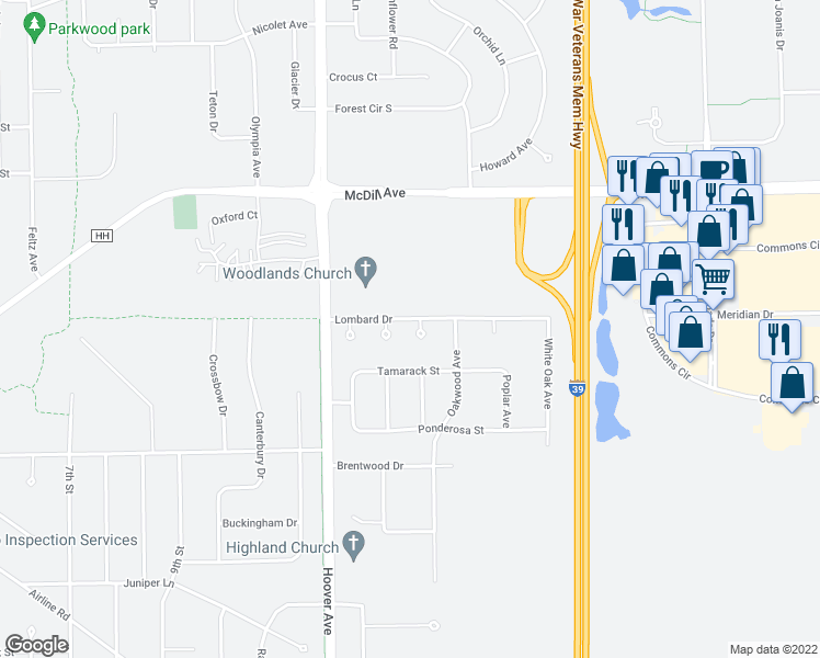 map of restaurants, bars, coffee shops, grocery stores, and more near 261 Lucerne Court in Plover