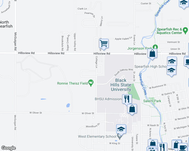 map of restaurants, bars, coffee shops, grocery stores, and more near 1206 Silverbrook Lane in Spearfish