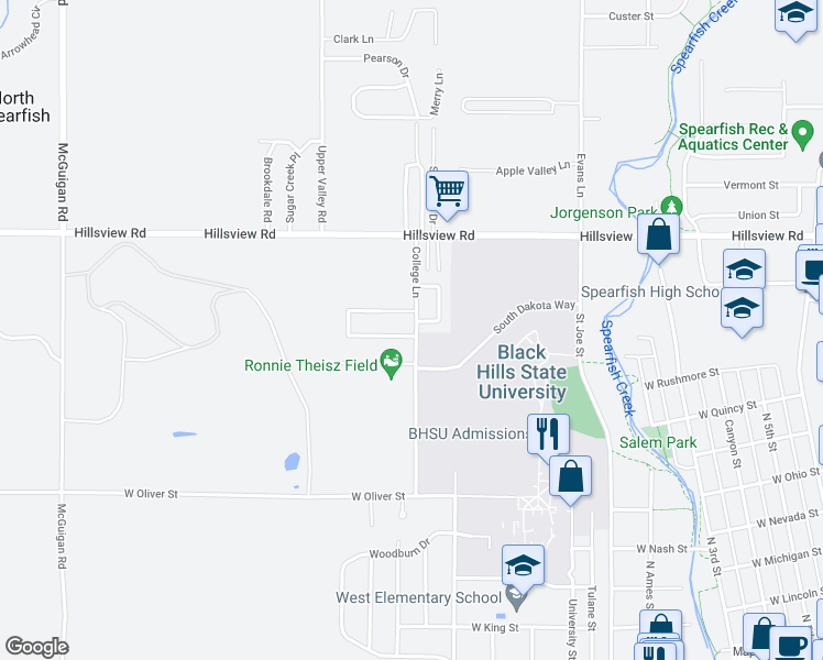 map of restaurants, bars, coffee shops, grocery stores, and more near 1202 Silverbrook Lane in Spearfish
