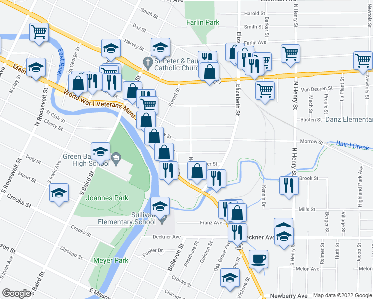 map of restaurants, bars, coffee shops, grocery stores, and more near 1537 Ellis Street in Green Bay