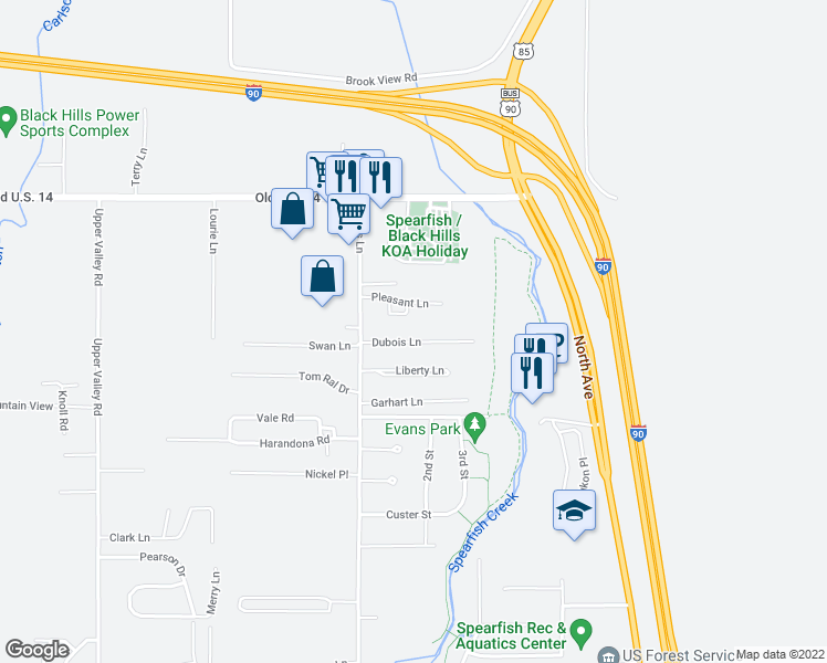 map of restaurants, bars, coffee shops, grocery stores, and more near 107 Dubois Lane in Spearfish