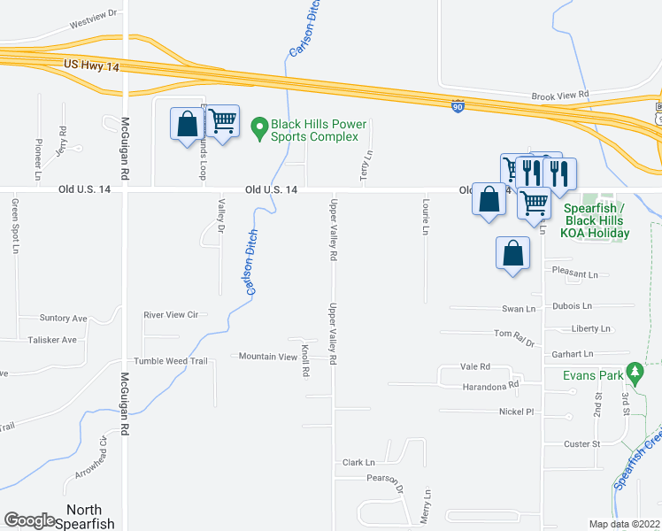 map of restaurants, bars, coffee shops, grocery stores, and more near 369 Upper Valley Road in Spearfish