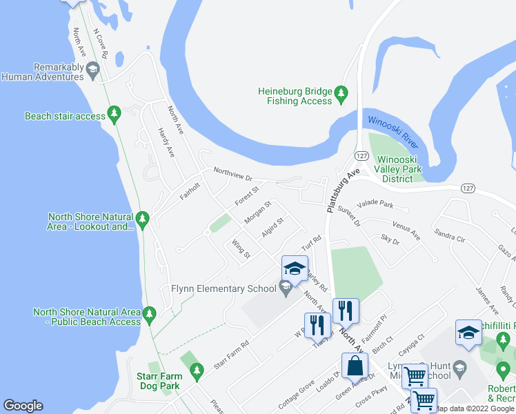 map of restaurants, bars, coffee shops, grocery stores, and more near 38 Morgan Street in Burlington