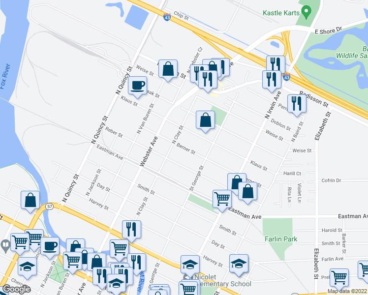 map of restaurants, bars, coffee shops, grocery stores, and more near Berner Street in Green Bay