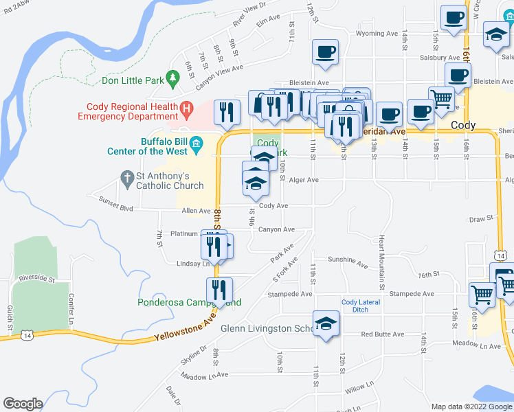 map of restaurants, bars, coffee shops, grocery stores, and more near 1401 9th Street in Cody
