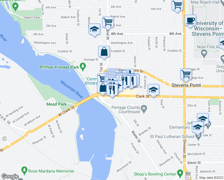 map of restaurants, bars, coffee shops, grocery stores, and more near 929 Main St in Stevens Point