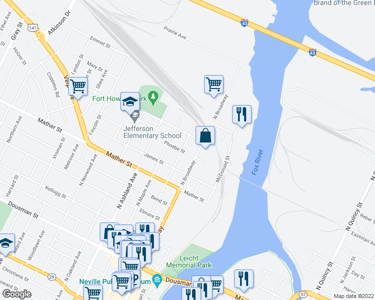 map of restaurants, bars, coffee shops, grocery stores, and more near 904 North Chestnut Avenue in Green Bay