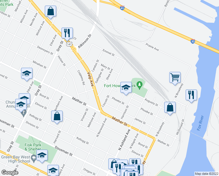 map of restaurants, bars, coffee shops, grocery stores, and more near 909 Lincoln Street in Green Bay