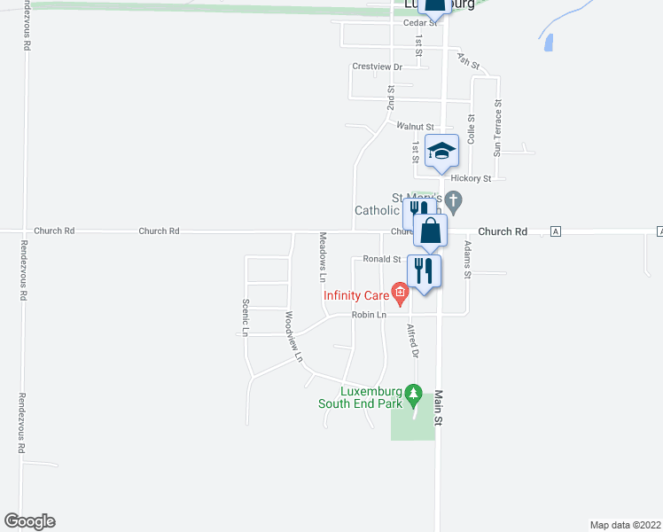 map of restaurants, bars, coffee shops, grocery stores, and more near 1602 Meadows Ln in Luxemburg