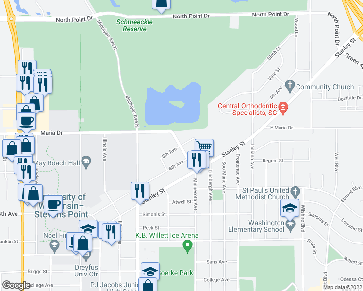 map of restaurants, bars, coffee shops, grocery stores, and more near Minnesota Avenue & 5th Avenue in Stevens Point