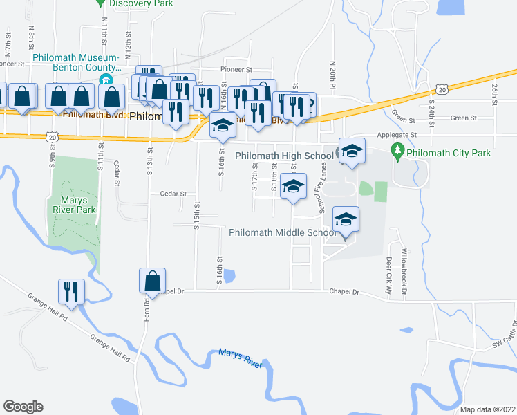 map of restaurants, bars, coffee shops, grocery stores, and more near 511 South 17th Street in Philomath