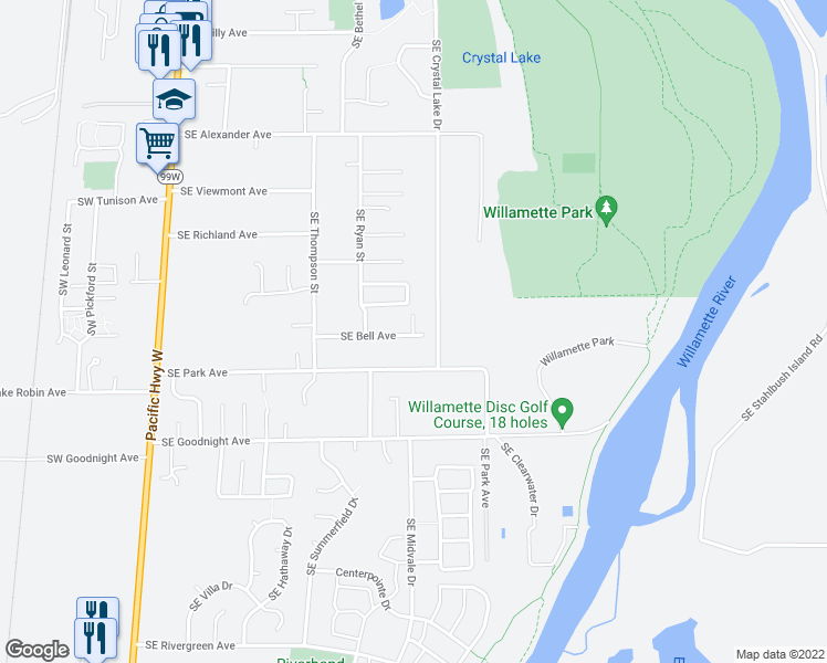 map of restaurants, bars, coffee shops, grocery stores, and more near 1109 Southeast Bell Avenue in Corvallis