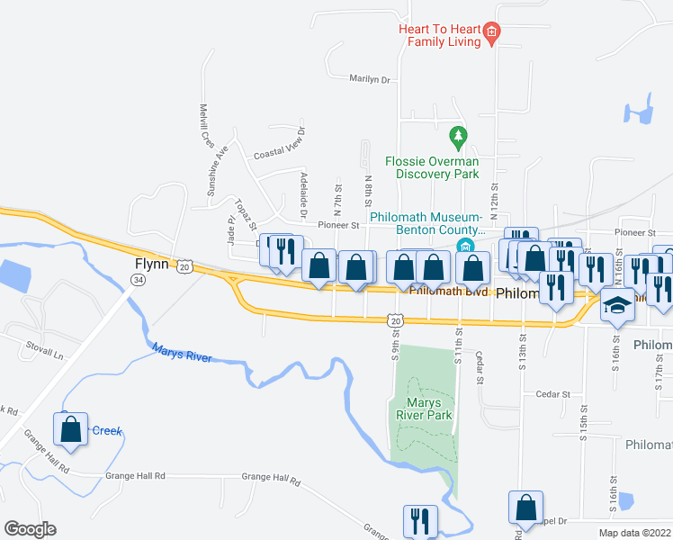 map of restaurants, bars, coffee shops, grocery stores, and more near 105 North 7th Street in Philomath