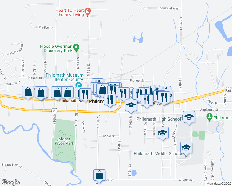 map of restaurants, bars, coffee shops, grocery stores, and more near 1432 College Street in Philomath