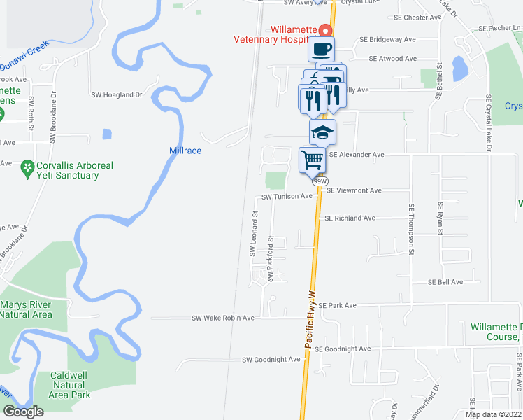 map of restaurants, bars, coffee shops, grocery stores, and more near 2335 SW Leonard St in Corvallis