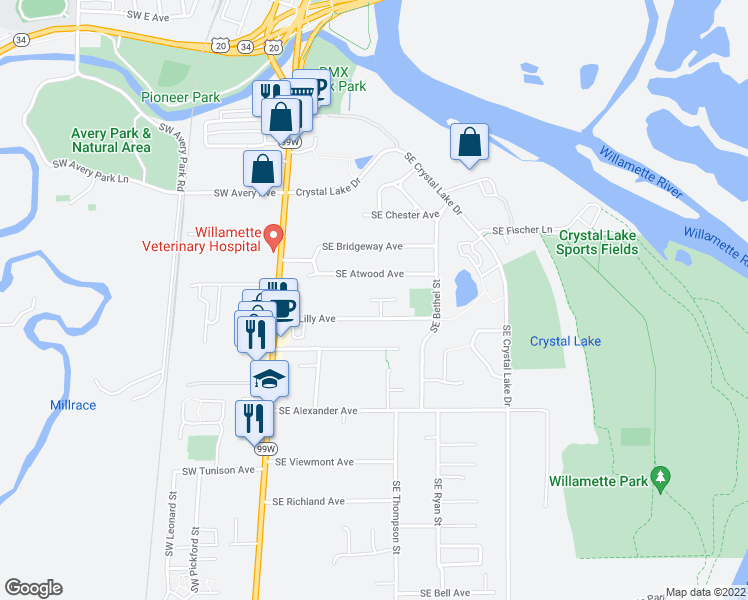 map of restaurants, bars, coffee shops, grocery stores, and more near 1759 Southeast Lilly Place in Corvallis