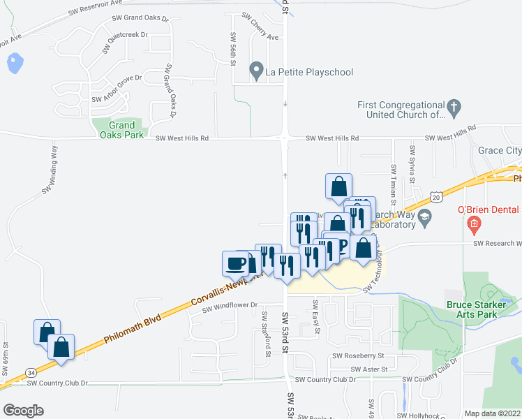 map of restaurants, bars, coffee shops, grocery stores, and more near 1200 Southwest 53rd Street in Corvallis
