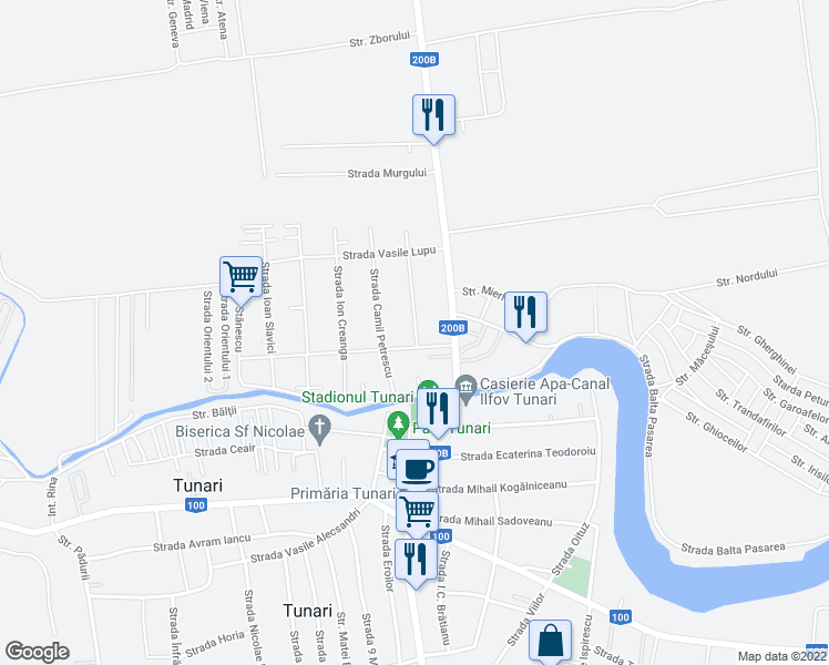 map of restaurants, bars, coffee shops, grocery stores, and more near Strada Tudor Arghezi in Tunari