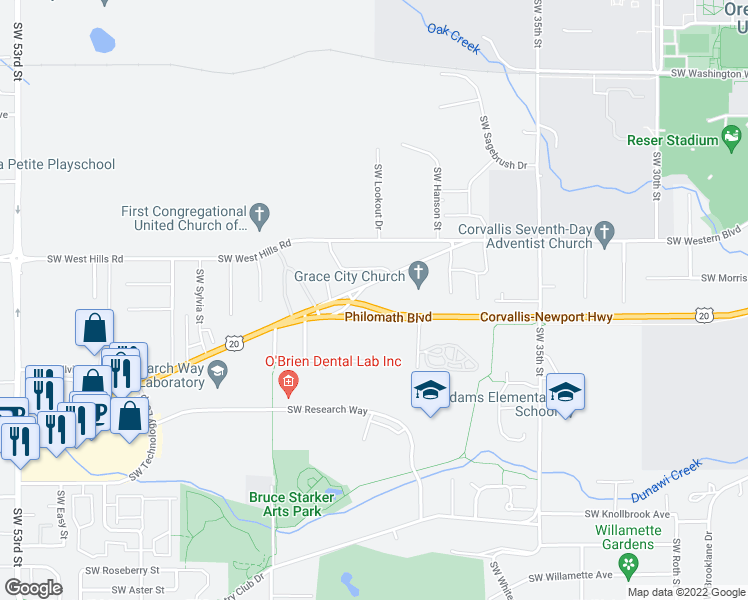 map of restaurants, bars, coffee shops, grocery stores, and more near 4030 Southwest Western Boulevard in Corvallis