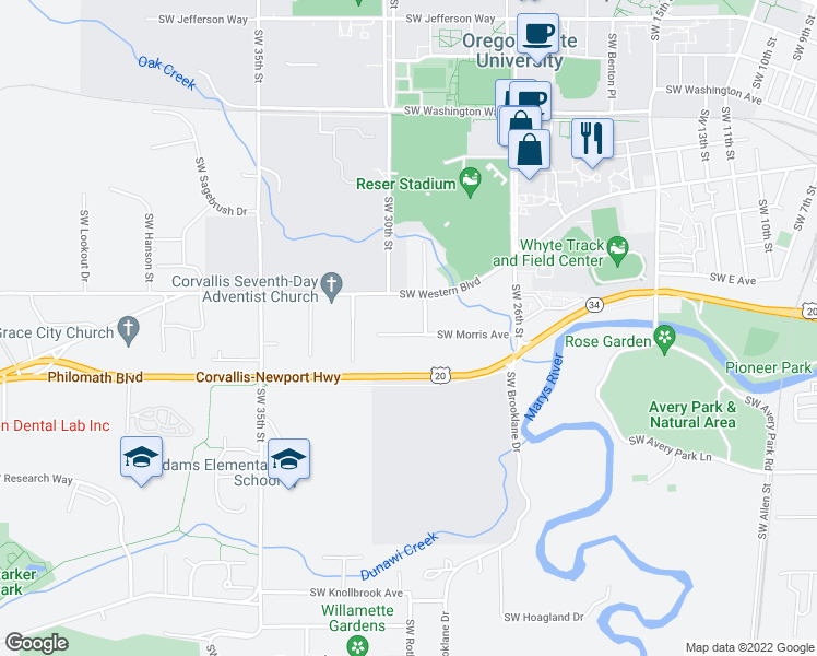 map of restaurants, bars, coffee shops, grocery stores, and more near 2945 Southwest Morris Avenue in Corvallis