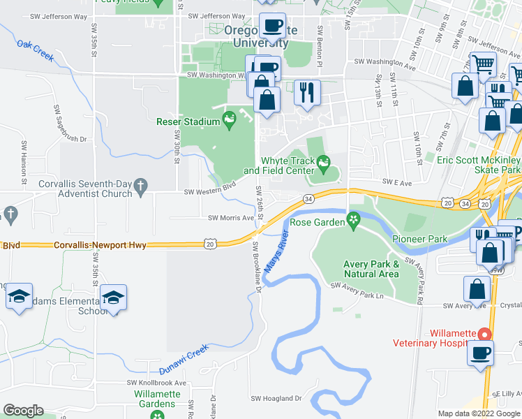 map of restaurants, bars, coffee shops, grocery stores, and more near 1235 Southwest 26th Street in Corvallis