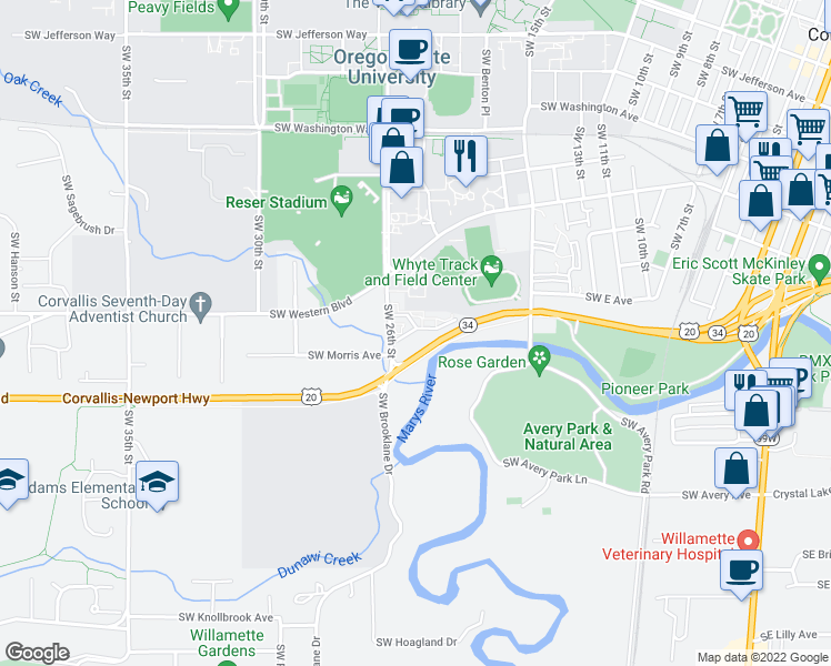 map of restaurants, bars, coffee shops, grocery stores, and more near 1233 Southwest 26th Street in Corvallis