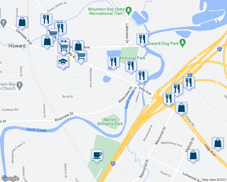 map of restaurants, bars, coffee shops, grocery stores, and more near Elmwood Court in Green Bay