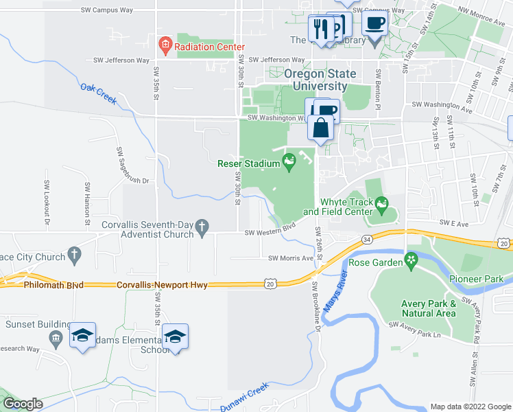 map of restaurants, bars, coffee shops, grocery stores, and more near 832 Southwest Grove Street in Corvallis