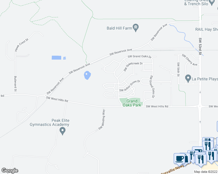 map of restaurants, bars, coffee shops, grocery stores, and more near 6298 Southwest Grand Oaks Drive in Corvallis