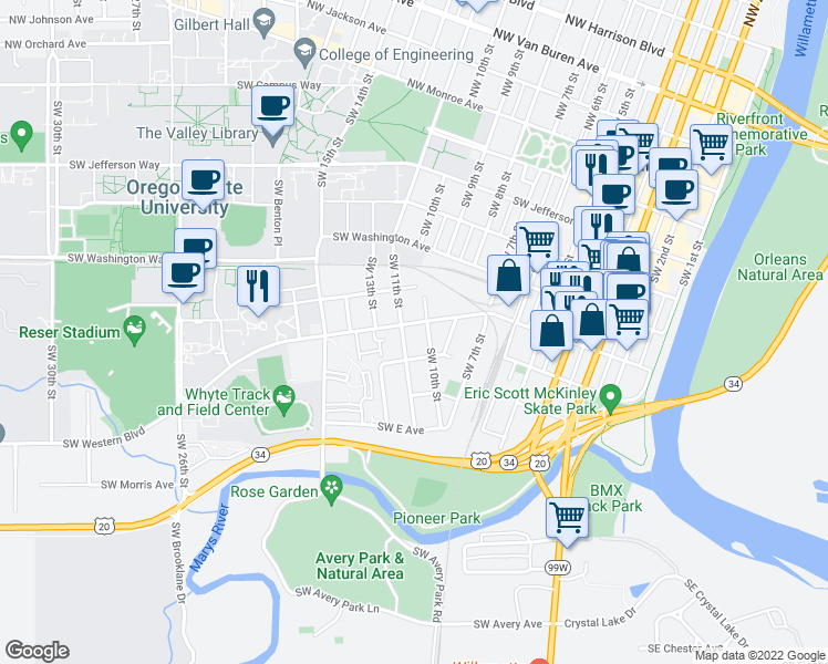 map of restaurants, bars, coffee shops, grocery stores, and more near 1052 Southwest Western Boulevard in Corvallis