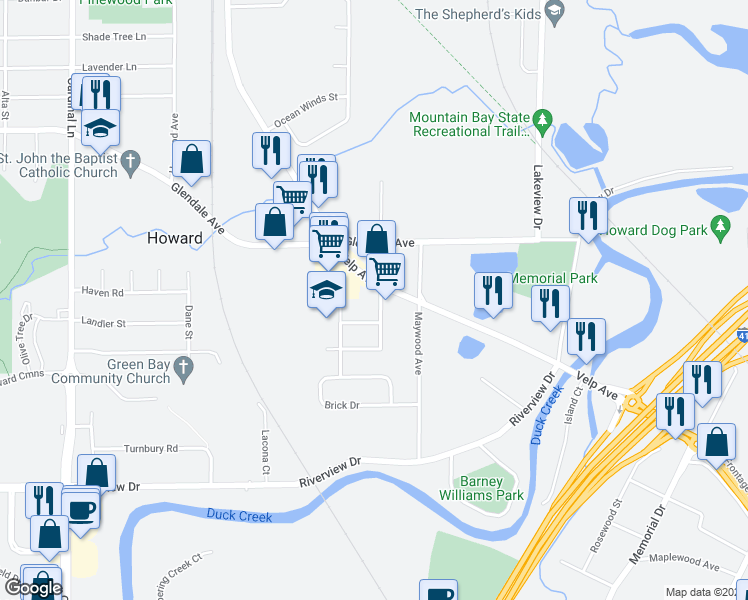 map of restaurants, bars, coffee shops, grocery stores, and more near 2305 Velp Avenue in Green Bay