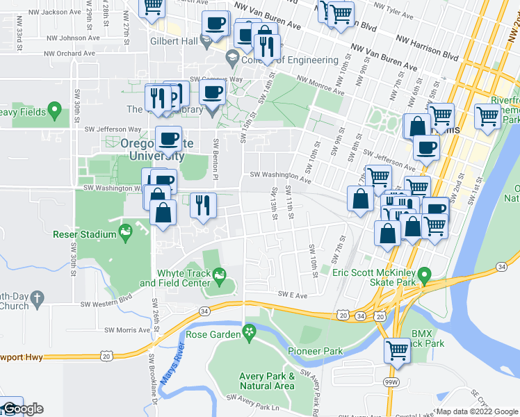 map of restaurants, bars, coffee shops, grocery stores, and more near 1375 Southwest A Avenue in Corvallis