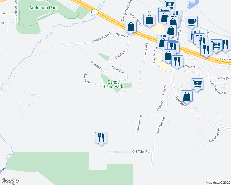 map of restaurants, bars, coffee shops, grocery stores, and more near 3558 Kosec Drive in Red Wing