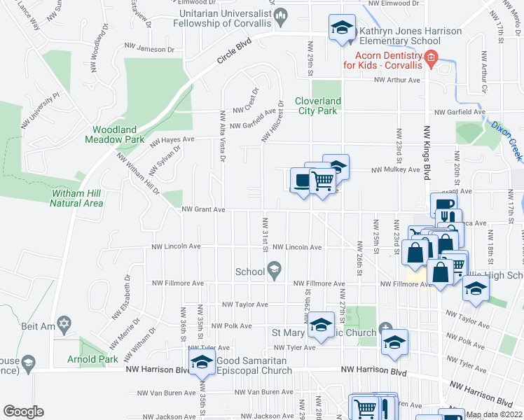 map of restaurants, bars, coffee shops, grocery stores, and more near 984 Northwest Hillcrest Drive in Corvallis