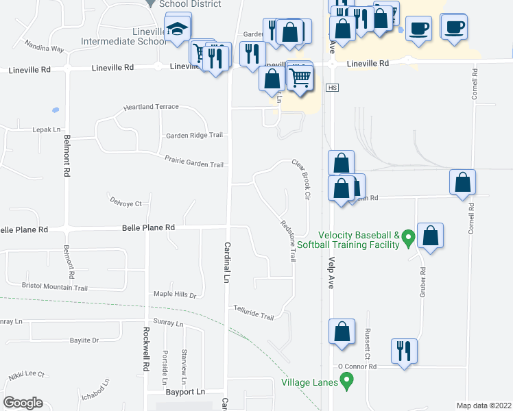 map of restaurants, bars, coffee shops, grocery stores, and more near 1615 Redstone Trail in Green Bay