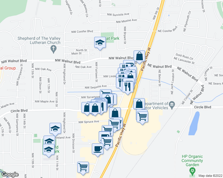 map of restaurants, bars, coffee shops, grocery stores, and more near 920 Northwest Sequoia Avenue in Corvallis